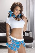 'Avanua Lingerie' Paris White & Blue Schoolgirl Fancy Dress Outfit (UK 8-20)